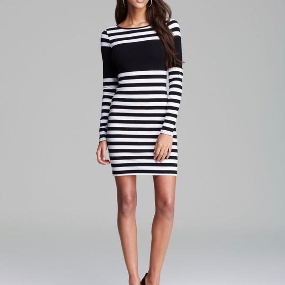 Guess Dresses Black Dress Knit Stripe Poshmark